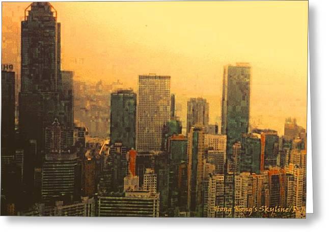 Fineartamerica Greeting Cards - Hong Kongs Skyline  Yellow Tones Greeting Card by Diane Strain