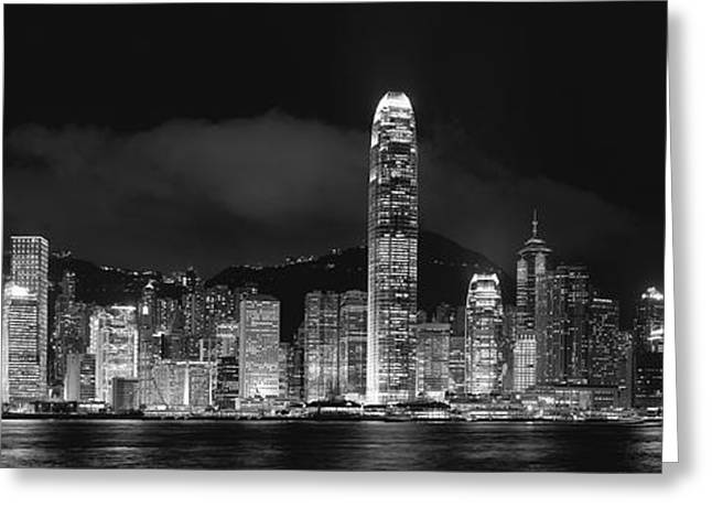 Light And Dark Greeting Cards - Hongkong Night Skylines Panorama black and white Greeting Card by Hakai Matsu
