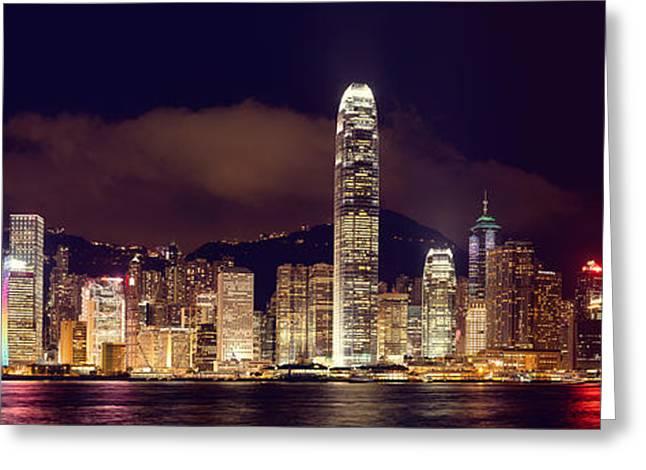 Matsu Greeting Cards - Hongkong Night Skylines Panorama  Greeting Card by Hakai Matsu