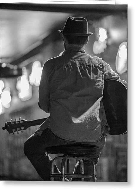 Nashville Tennessee Greeting Cards - Honky Tonk Guitar Player Greeting Card by John McGraw