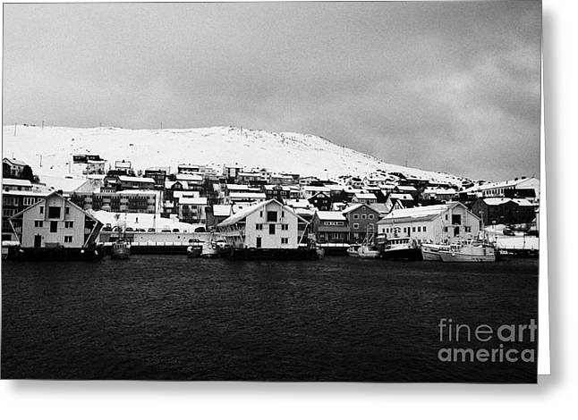 Scandanavian Greeting Cards - Honningsvag bryggen old harbour finnmark norway europe Greeting Card by Joe Fox