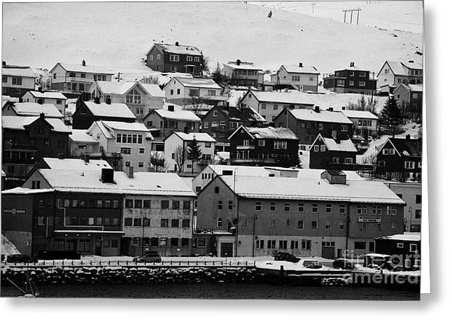 Scandanavian Greeting Cards - Honningsvag harbour and traditional wooden houses finnmark norway europe Greeting Card by Joe Fox