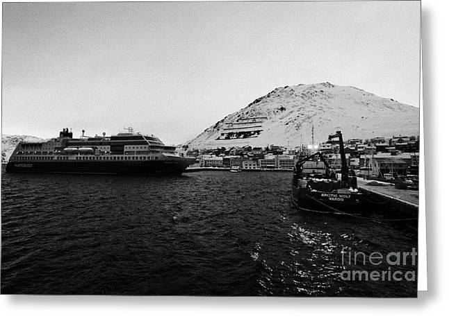 Honningsvag Greeting Cards - Honningsvag harbour with hurtigruten ferry and fishing boats  finnmark norway europe Greeting Card by Joe Fox