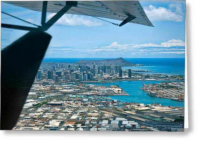 Tail-draggers Greeting Cards - Honolulu and Diamond Head Greeting Card by Dan McManus