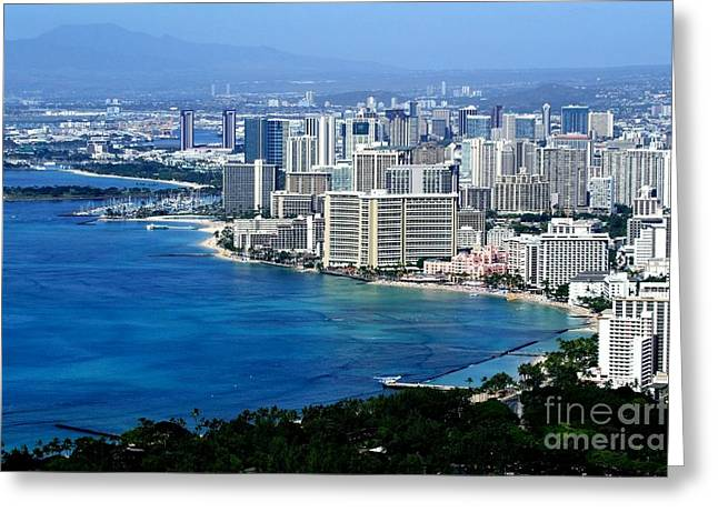Mary Deal Greeting Cards - Honolulu and Waikiki from Diamond Head Greeting Card by Mary Deal