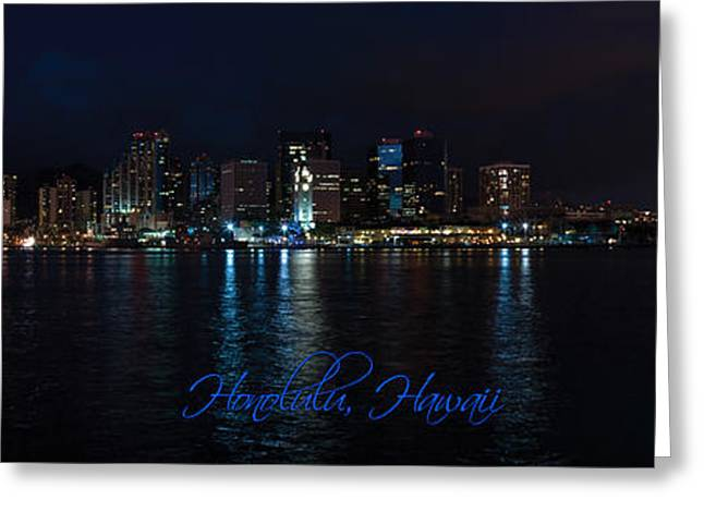 Gathering Greeting Cards - Honolulu at Night Greeting Card by John Robert Cole