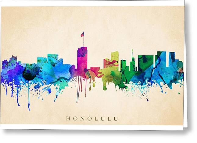Steve Will Greeting Cards - Honolulu Cityscape Greeting Card by Steve Will