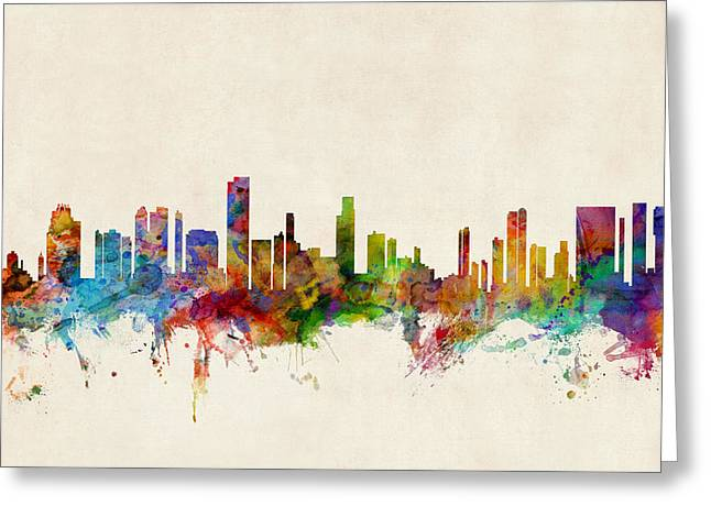 Cityscape Digital Art Greeting Cards - Honolulu Hawaii Skyline Greeting Card by Michael Tompsett