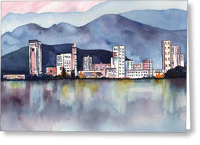 Water Color Greeting Cards - Honolulu Oahu Hawaii Seascape Waterfront Greeting Card by Sharon Mick