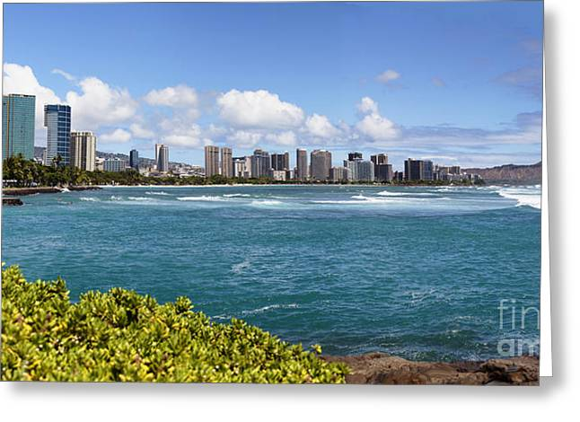Surf City Greeting Cards - Honolulu Panorama Greeting Card by Jan Tyler