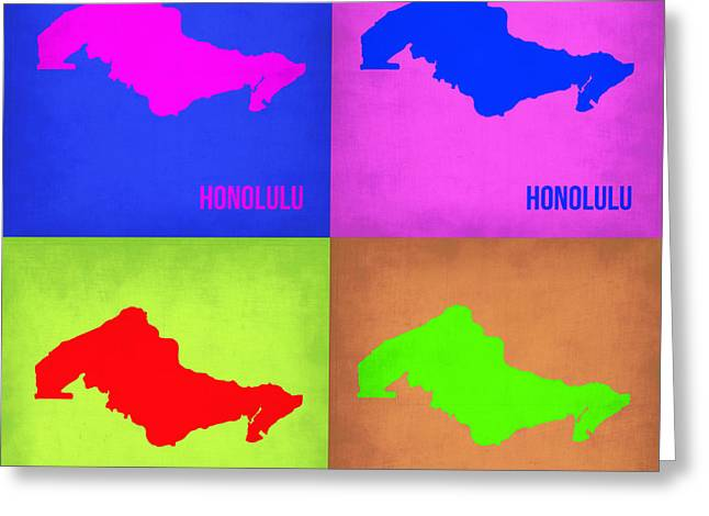 Honolulu Greeting Cards - Honolulu Pop Art Map 1 Greeting Card by Naxart Studio