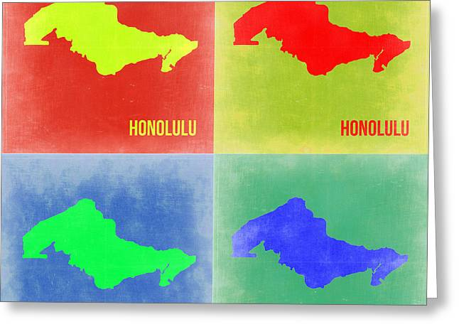 Honolulu Greeting Cards - Honolulu Pop Art Map 2 Greeting Card by Naxart Studio