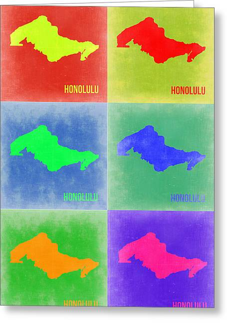 Honolulu Greeting Cards - Honolulu Pop Art Map 5 Greeting Card by Naxart Studio