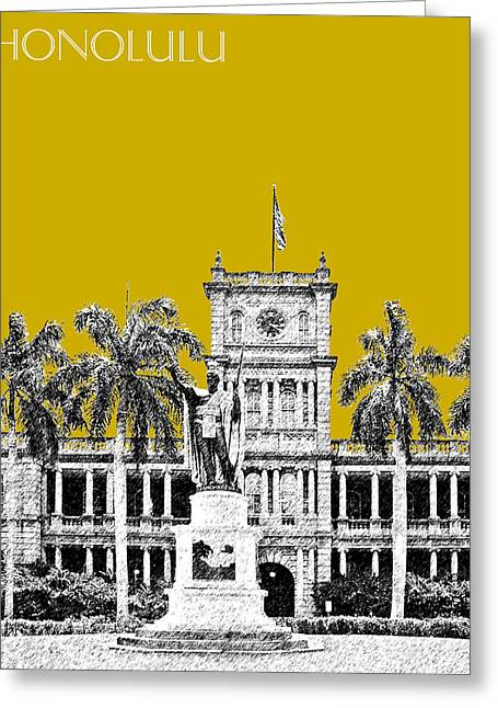 Kamehameha Greeting Cards - Honolulu Skyline King Kamehameha - Gold Greeting Card by DB Artist