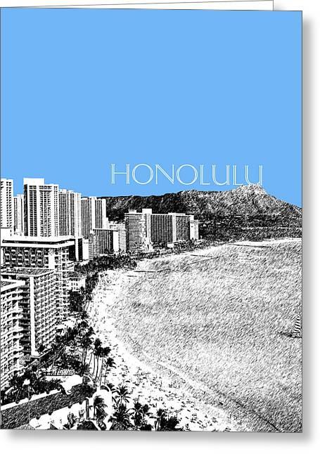 Tropical Beach Digital Art Greeting Cards - Honolulu Skyline Waikiki Beach - Light Blue Greeting Card by DB Artist