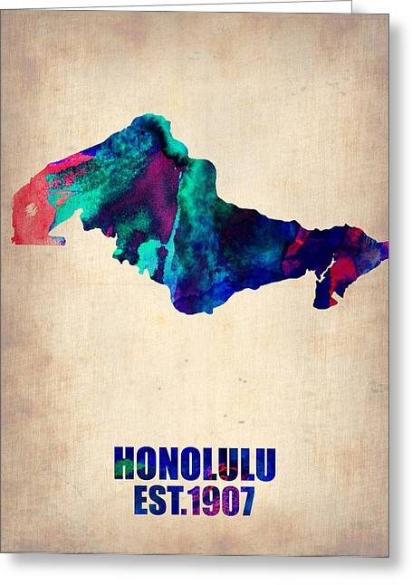 Honolulu Greeting Cards - Honolulu Watercolor Map Greeting Card by Naxart Studio