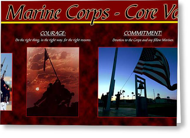 Motivational Poster Greeting Cards - Honor Courage Commitment Greeting Card by Annette Redman