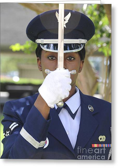 Stainless Steel Greeting Cards - Honor Guard Places A Saber In Front Greeting Card by Stocktrek Images