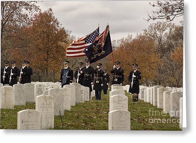 Soldiers National Cemetery Greeting Cards - Honor Guard Greeting Card by Terry Rowe