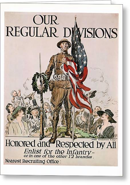 Ww1 Greeting Cards - Honored and Respected Greeting Card by Presented By American Classic Art