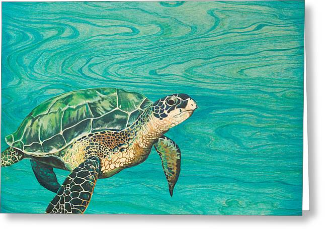Sea Creature Art Greeting Cards - Honu Greeting Card by Emily Brantley