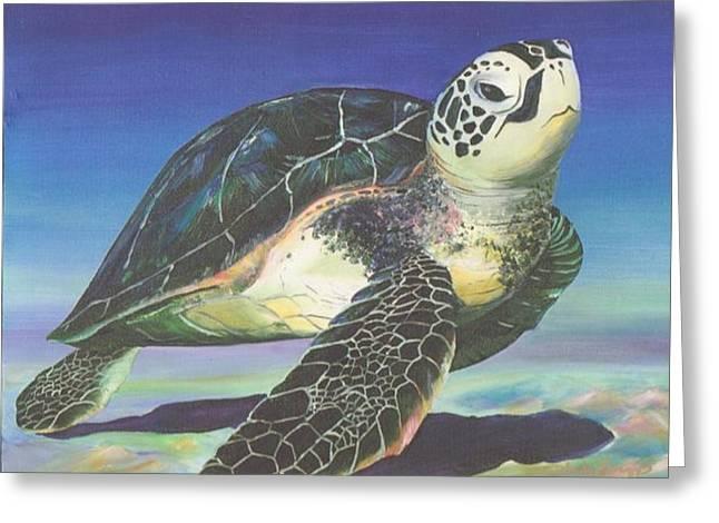Ladys Island Greeting Cards - Honu Greeting Card by Linda Briggs