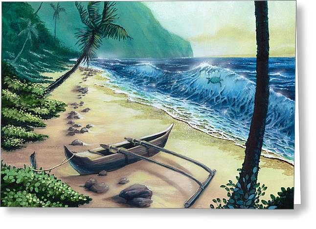 Green Sea Turtle Paintings Greeting Cards - Honu Surfer Greeting Card by Bill Shelton
