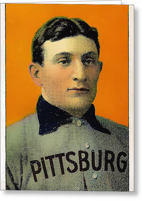 Honus Wagner Greeting Cards - Honus Wagner Baseball Card 0838 Greeting Card by Wingsdomain Art and Photography