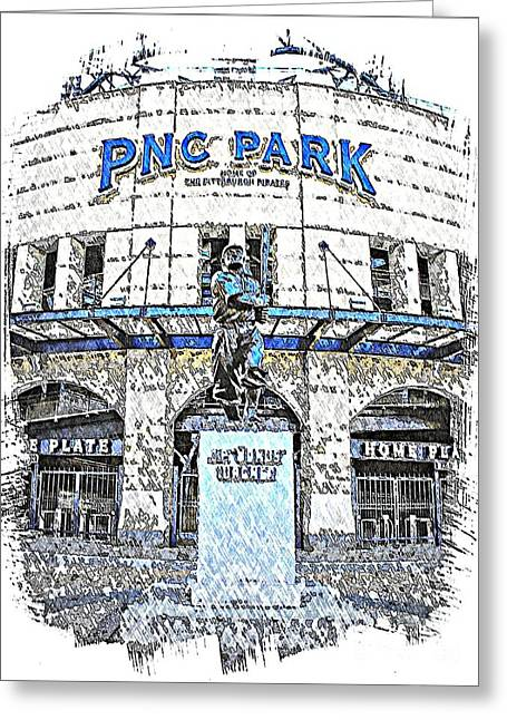 Honus Wagner Greeting Cards - Honus Wagner Statue at PNC Park Greeting Card by Spencer McKain