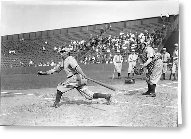 Famous Photographer Greeting Cards - Honus Wagner Swings Hard Greeting Card by Retro Images Archive