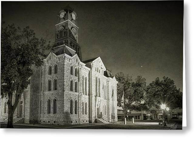 Moonrise Greeting Cards - Hood County Courthouse Greeting Card by Joan Carroll