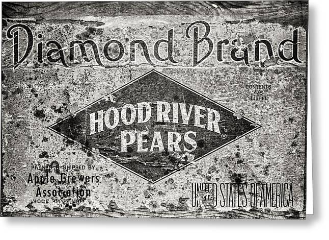 Pear Art Greeting Cards - Hood River Pears Crate in Black and White Greeting Card by Lisa Russo