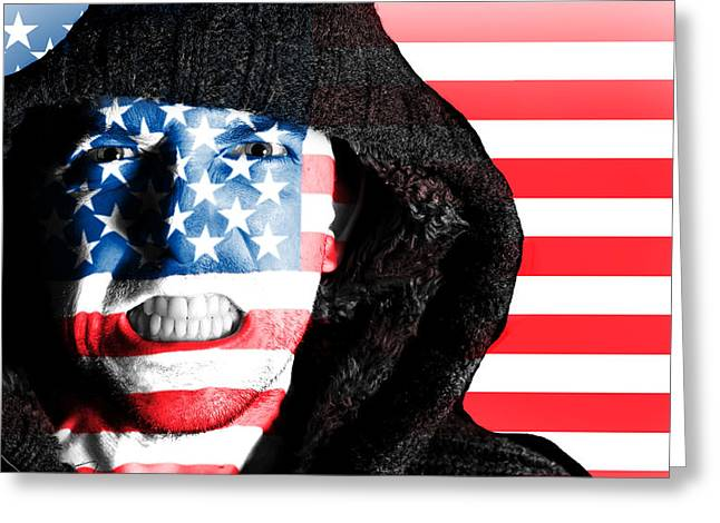 Angry Face Greeting Cards - Hooded angry man with American flag design on face Greeting Card by Fizzy Image
