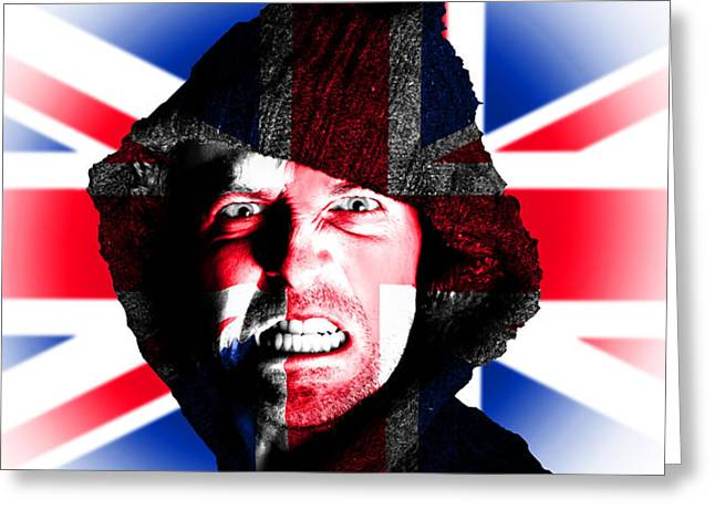 Angry Face Greeting Cards - Hooded angry man with british union flag design on face Greeting Card by Fizzy Image