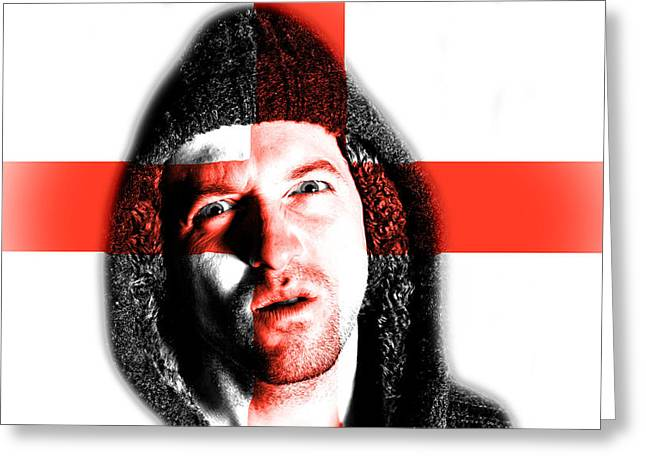 Angry Face Greeting Cards - Hooded angry man with English flag design on face Greeting Card by Fizzy Image