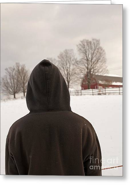 Rural Snow Scenes Photographs Greeting Cards - Hooded boy at farm in winter Greeting Card by Edward Fielding