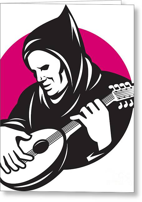 Playing Musical Instruments Greeting Cards - Hooded Man Playing Banjo Guitar Greeting Card by Aloysius Patrimonio