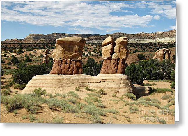 Holes In Sandstone Greeting Cards - Devils Garden - Hoodoo Choir Greeting Card by Sheryl Young