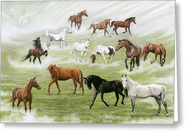 Many Pastels Greeting Cards - Hoofbeats in Heaven Greeting Card by Kim McElroy