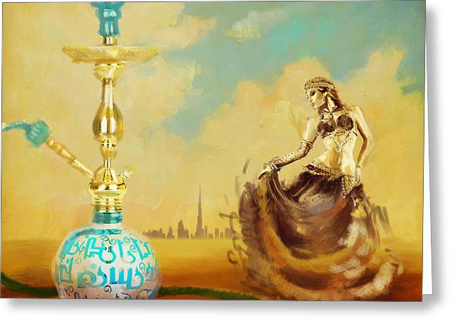 Lounge Paintings Greeting Cards - Hookah Bar Greeting Card by Corporate Art Task Force