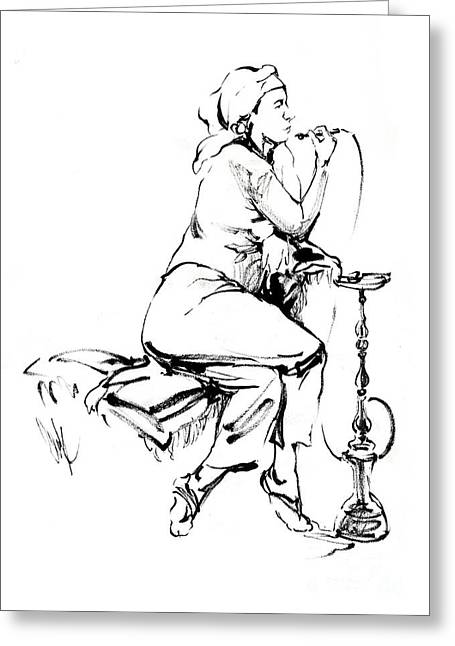 Sit-ins Drawings Greeting Cards - Hookah Greeting Card by Konstantin Boreo