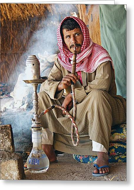 Smoker Greeting Cards - Hookah smoker Greeting Card by Science Photo Library
