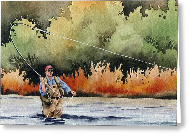 Fly Fishing Art Print Greeting Cards - Hooked Up Greeting Card by David Rogers