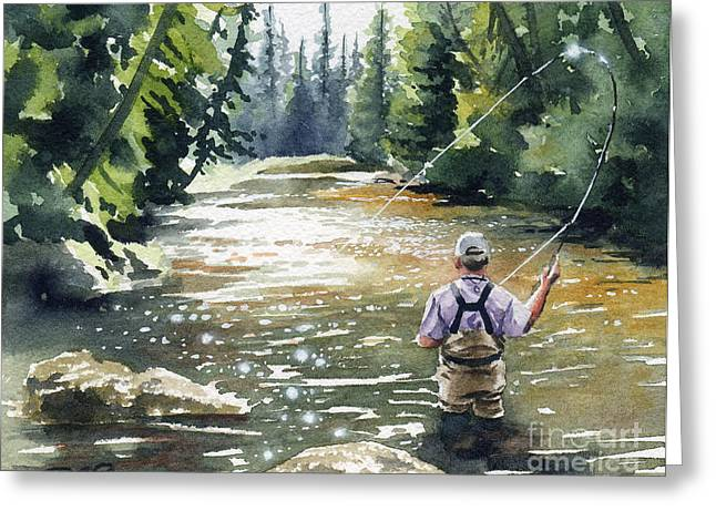 Fly Fishing Art Print Greeting Cards - Hooked Up II Greeting Card by David Rogers