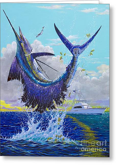 Sportfishing Boats Greeting Cards - Hooked Up Off004 Greeting Card by Carey Chen