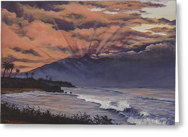 Sun Rays Paintings Greeting Cards - Hookipa Sunset Greeting Card by Darice Machel McGuire