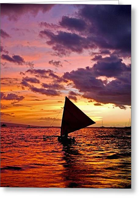 Reflection Of Sun In Clouds Greeting Cards - Hoolana - A sailing canoe on the water at sunset Greeting Card by Nature  Photographer