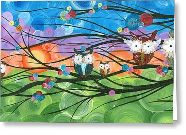 Saw Greeting Cards - Hoolandia Family Tree 04 Greeting Card by MiMi Stirn