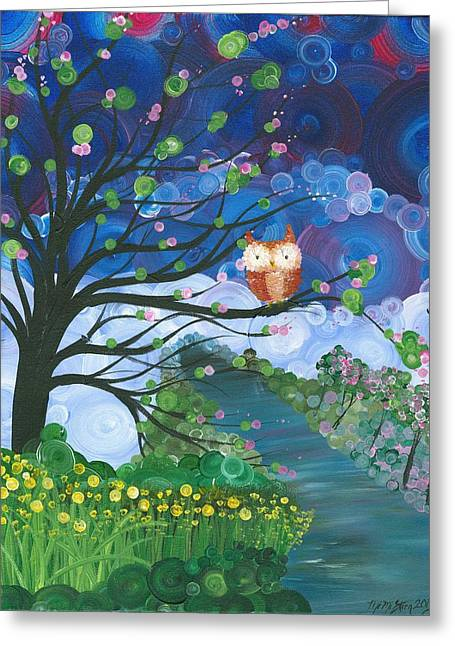 Recently Sold -  - Saw Greeting Cards - Hoolandia Seasons Spring Greeting Card by MiMi  Stirn