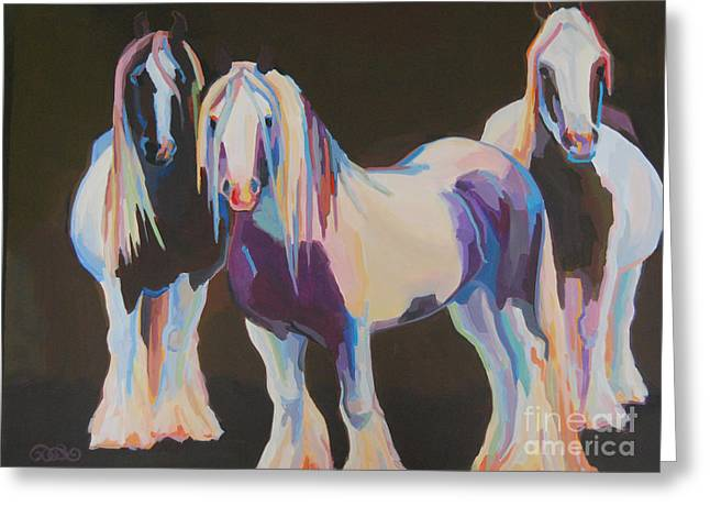 Gypsy Vanner Horse Greeting Cards - Hooligans Greeting Card by Kimberly Santini